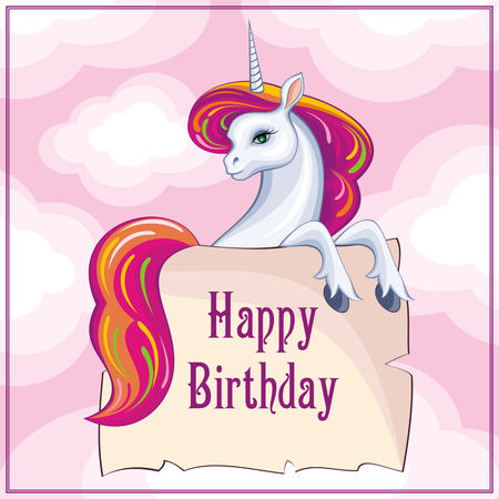 Happy birthday greeting card with the image of a beautiful fantastic unicorn. Colorful vector background. Illustration