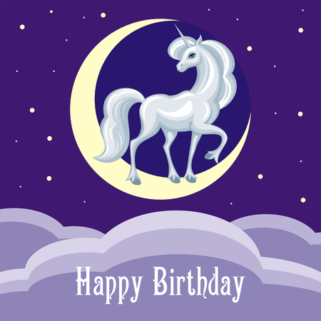 sumptuous: Happy birthday greeting card with the image of a beautiful fantastic unicorn. Colorful vector background. Illustration