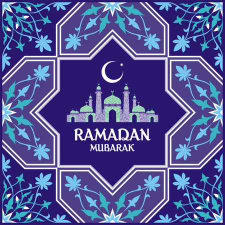 Ramadan greeting card with the image of the mosque, minarets and Middle East pattern in Moorish style. Vector template