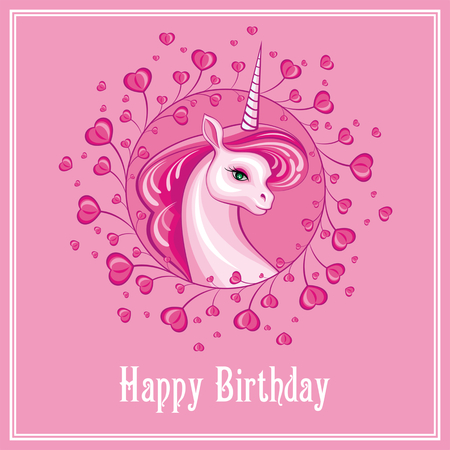Happy birthday greeting card with the image of a beautiful fantastic unicorn. Colorful vector illustration.