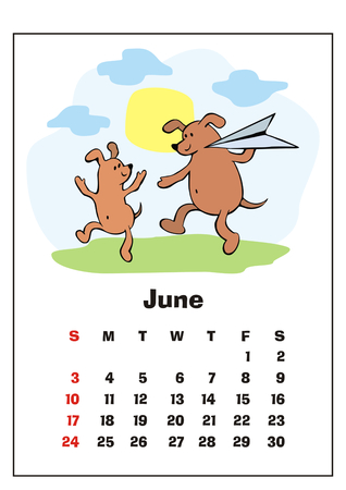 Wall calendar for June, 2018 with funny dogs. Fun childrens illustration in cartoon style. Colorful vector background. Vertical orientation. Week starts Sunday.