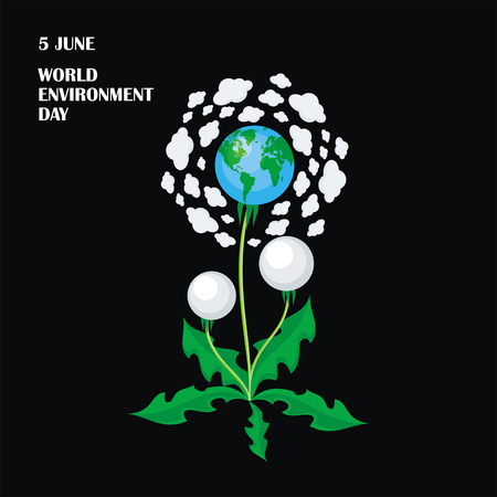 conservancy: World Environment Day. Vector illustration with the image of planet Earth