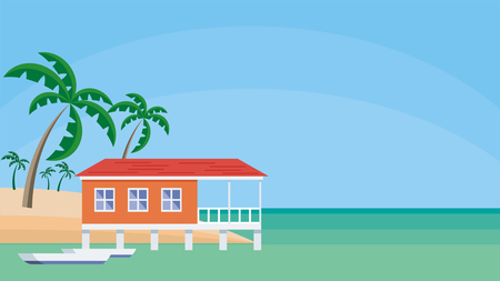 Small lodge on piles against the background of palm trees and a sea landscape. Vector background. Illustration