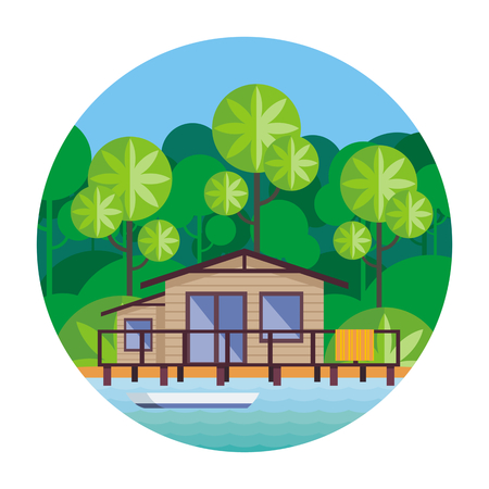 Beach house on stilts, surrounded by tropical plants. Round vector illustration