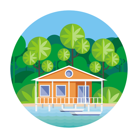 secluded: Beach house on stilts, surrounded by tropical plants. Round vector illustration