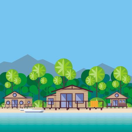 비치 카바나는 열대 식물로 둘러싸여 있습니다. 아름 다운 바다 풍경입니다.