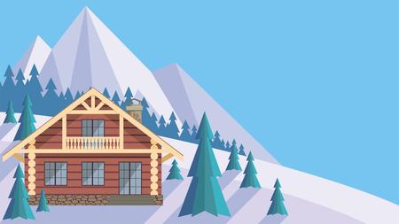 L'image d'un chalet dans les montagnes enneigées. Beau paysage d'hiver. Vecteur de fond.