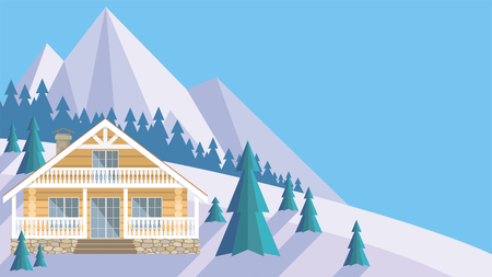 The image of a chalet in snowy mountains. Beautiful winter landscape. Vector background. Illusztráció