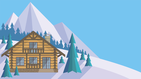 The image of a chalet in snowy mountains. Beautiful winter landscape. Vector background. Illustration
