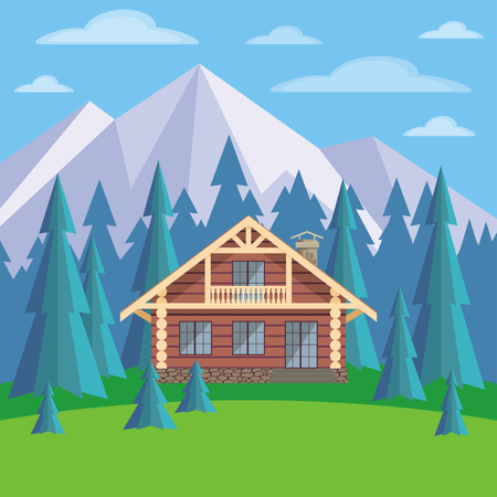 L'image d'une loge dans un environnement de sapins. Beau paysage d'été. Vector background. Vecteurs