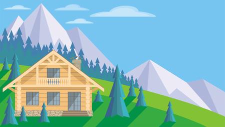 La imagen de una casa de troncos en un entorno de abetos. Hermoso paisaje de verano. Vector de fondo.