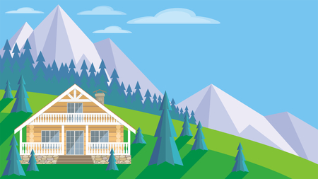 The image of a log house in an environment of fir trees. Beautiful summer landscape. Vector background.