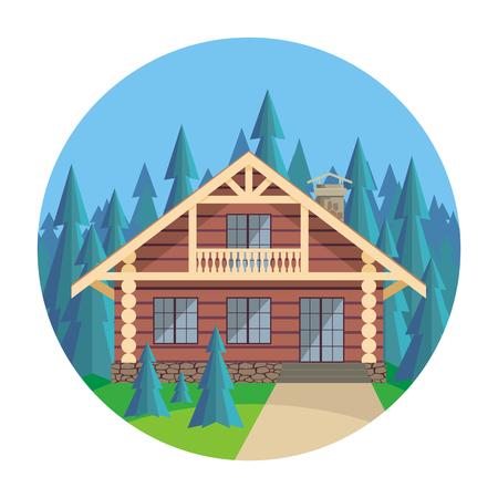 l & # 39 ; image d & # 39 ; une maison de rondins dans un environnement de sapins beaux arbres. paysage d & # 39 ; été. fond de vecteur .