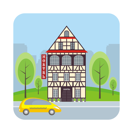 Hostel in the historical center of large European cities. Vector illustration.