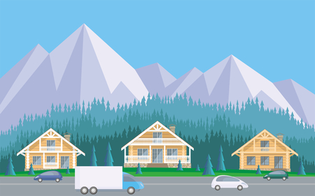 rural road: The image of the cottage settlement against the background of the coniferous forest and mountains. Beautiful summer landscape. Vector background. Illustration