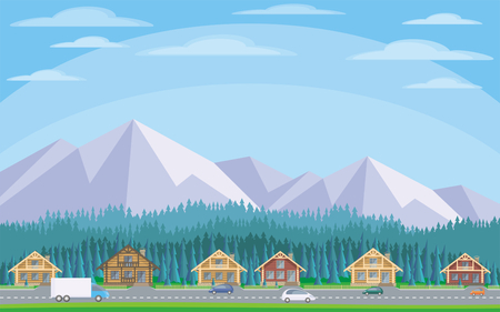 The image of the cottage settlement against the background of the coniferous forest and mountains. Beautiful summer landscape. Vector background. Illustration