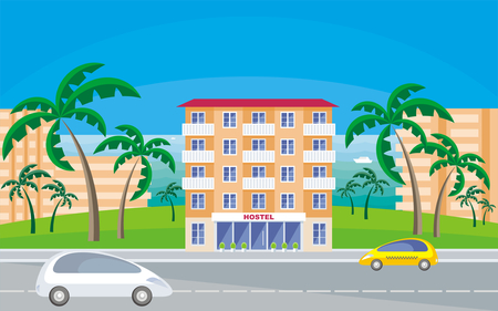 The image of a hostel in a seaside resort in an environment of tropical plants. Vector background.