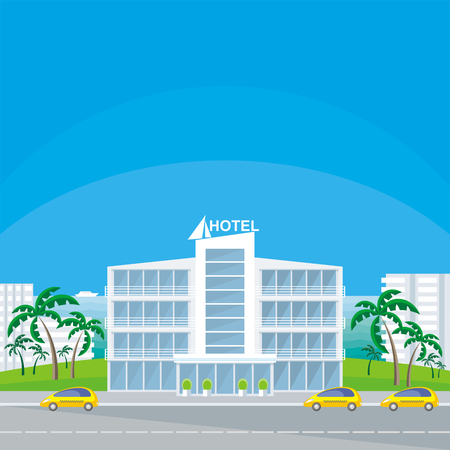 The image of a beautiful big hotel in a seaside resort. Vector background.
