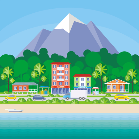 Street of the small resort seaside town. Houses in an environment of tropical plants. Vector background.