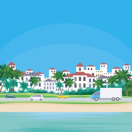 海岸の街のイメージ。海沿いの道路。美しい夏の風景です。ベクトルの背景。