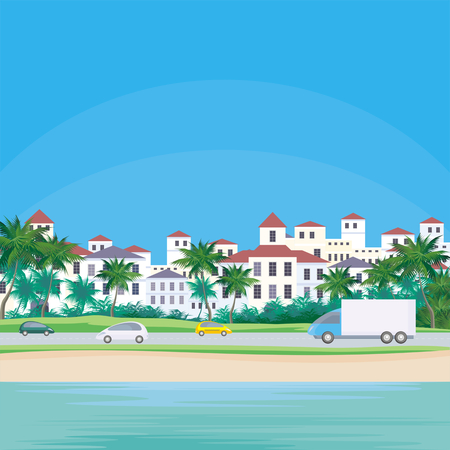 The image of a coastal town. The road along the sea. Beautiful summer landscape. Vector background.