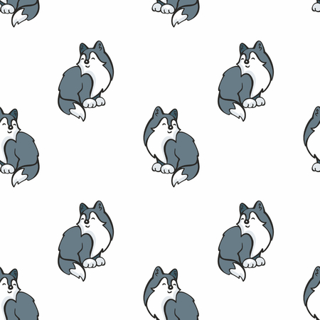 Children's seamless pattern in cartoon style with cute husky dogs. Vector background. Stock Vector - 80342087