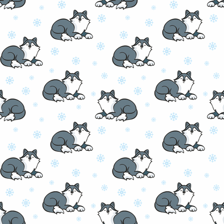 Children's seamless pattern in cartoon style with cute husky dogs. Vector background. Stock Vector - 80342091