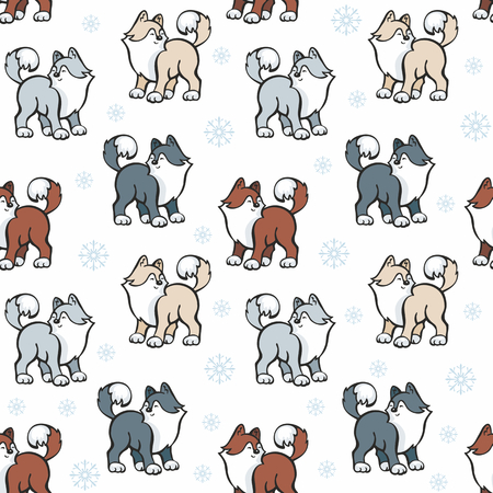 Children's seamless pattern in cartoon style with cute husky dogs. Vector background. Stock Vector - 80342092
