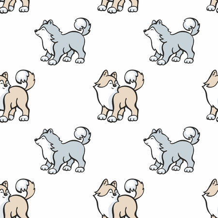 Children's seamless pattern in cartoon style with cute husky dogs. Vector background.