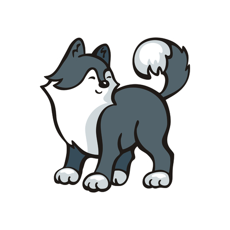 Funny husky dog. Vector illustration in cartoon style.
