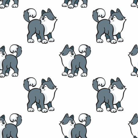 Children's seamless pattern in cartoon style with cute husky dogs. Vector background. Stock Vector - 80342117