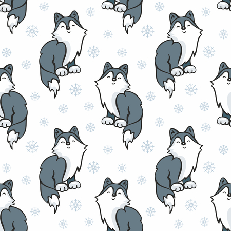 Children's seamless pattern in cartoon style with cute husky dogs. Vector background. Stock Vector - 80342118