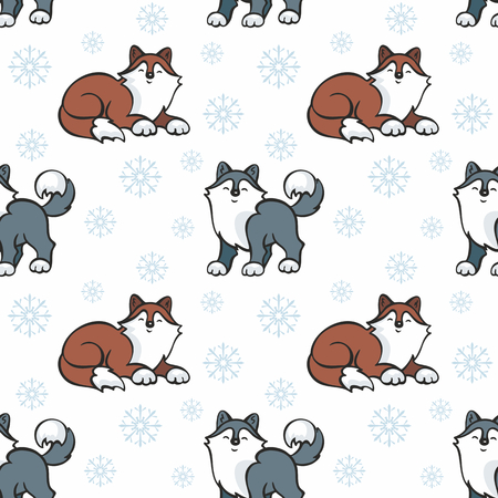 Children's seamless pattern in cartoon style with cute husky dogs. Vector background. Stock Vector - 80342119