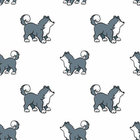 귀여운 거친 강아지와 함께 만화 스타일에서 어린이 원활한 패턴. 벡터 배경입니다. 일러스트