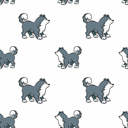 Childrens seamless pattern in cartoon style with cute husky dogs. Vector background. Ilustrace