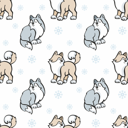dog sled: Childrens seamless pattern in cartoon style with cute husky dogs. Vector background. Illustration