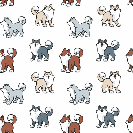 Childrens seamless pattern in cartoon style with cute husky dogs. Vector background. Illustration