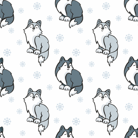 Children's seamless pattern in cartoon style with cute husky dogs. Vector background. Stock Vector - 80342129