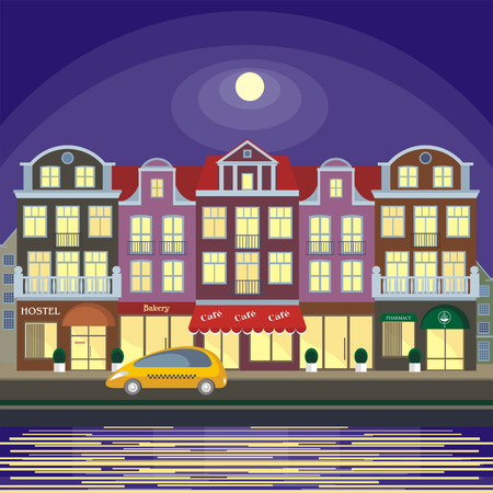 Image of the street of the European city. Old houses on the bank of the channel. Vector illustration.