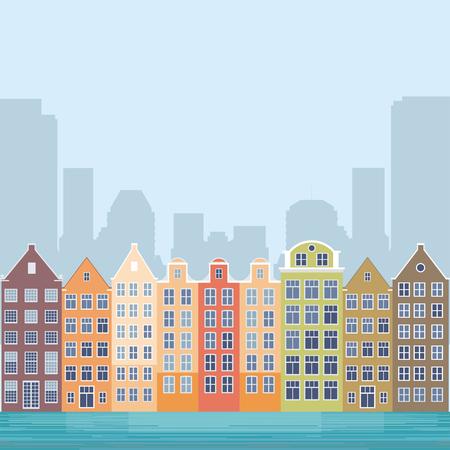 ヨーロッパの都市の通りのイメージです。チャネルの銀行の古い町並み。ベクトルの図。