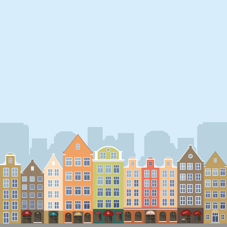 Image of the street of the European city. Vector illustration.