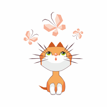 Small funny kitten plays with a butterfly. Children vector illustration in cartoon style.