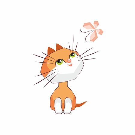 amusing: Small funny kitten plays with a butterfly. Children vector illustration in cartoon style.