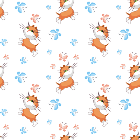 Small funny kitten plays with a butterfly. Childrens full color seamless pattern in cartoon style.