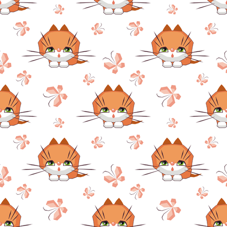 A Small funny kitten plays with a butterfly. Childrens full color seamless pattern in cartoon style.