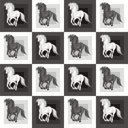 Nahtlose Muster mit einem realistischen Bild von schönen Pferden. Vektor Hintergrund. Standard-Bild - 81067434