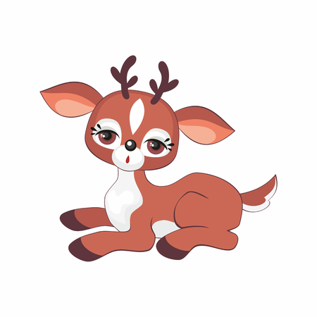 The image of a cute little deer. Vector illustration in cartoon style. Illustration