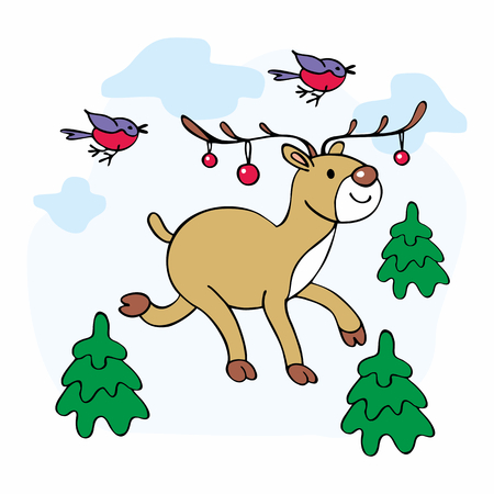 Cheerful Christmas illustration with the image of a ridiculous deer, bullfinches and fir trees.