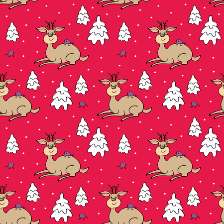 Christmas colorful seamless pattern with the image of a cute deer and fir trees. Vector background.