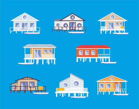 real estate house: Small lodge on piles. Vector clip art.